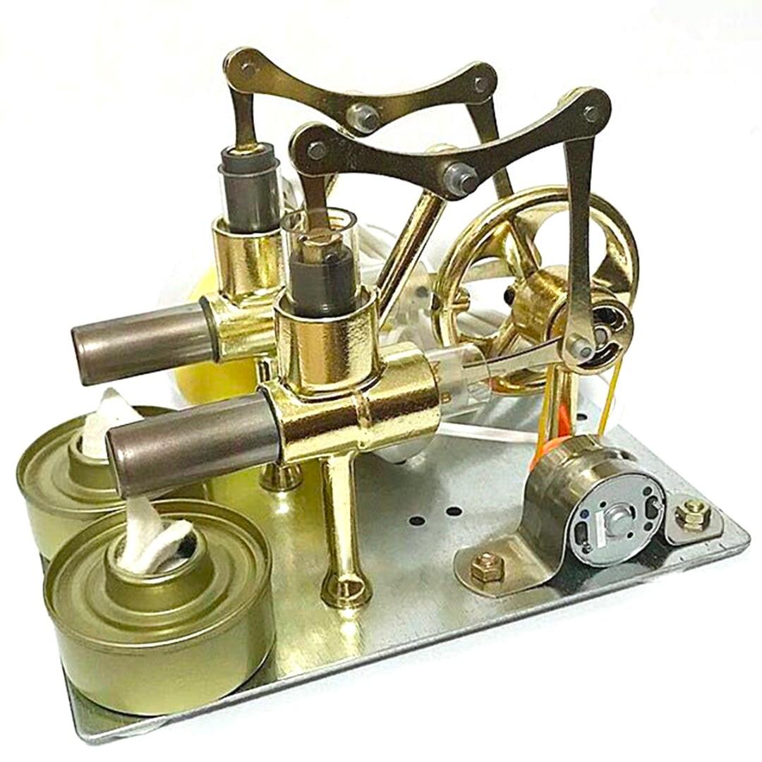 2019 nouveau Double cylindre Stirling moteur modèle générateur Miniature jouet chaleur vapeur éducation bricolage modèle jouet cadeau pour les enfants
