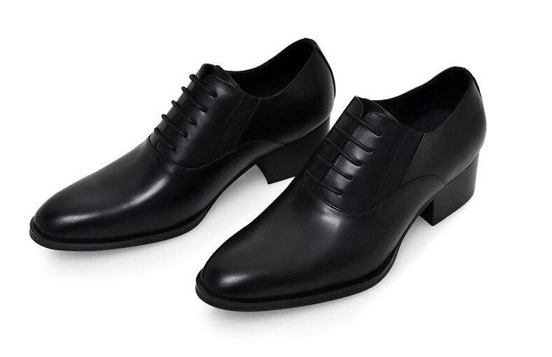 Leder Schuh 1 Höhe High Schuhe Hochzeit Kleid Oxford Fahsion Karriere Echtes Runde 2018 Lace Toe Erhöhen Mens Arbeit Up Heels wpnx4