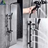 Black Shower System Height Adjustable Massage Jet Shower Mixers Rainfall Shower Head Brass Bidet Sprayer Head Bath Shower Faucet