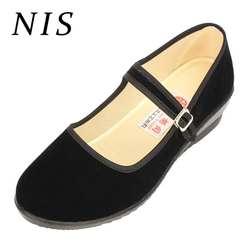 NIS/Женская обувь на плоской подошве, женские балетки из хлопковой ткани на плоской подошве, Рабочая обувь с ремешком и пряжкой, женская