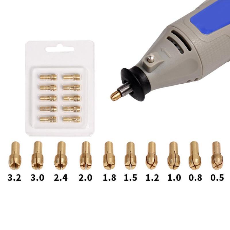 10pcs Mini Brass Copper Collets Chucks for Twist Drill Motor Shaft Grinder 0.5mm-3.2mm Quick Chuck Set10pcs Mini Brass Copper Collets Chucks for Twist Drill Motor Shaft Grinder 0.5mm-3.2mm Quick Chuck Set