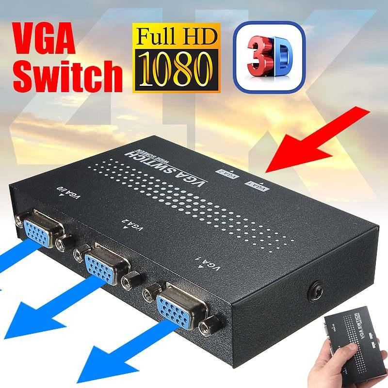 Original Universal 2 Port Hub USB 2.0 KVM SVGA VGA Switch Box Monitor Adapter Connects Printer Intelli Keyboard Mouse Sharing HC