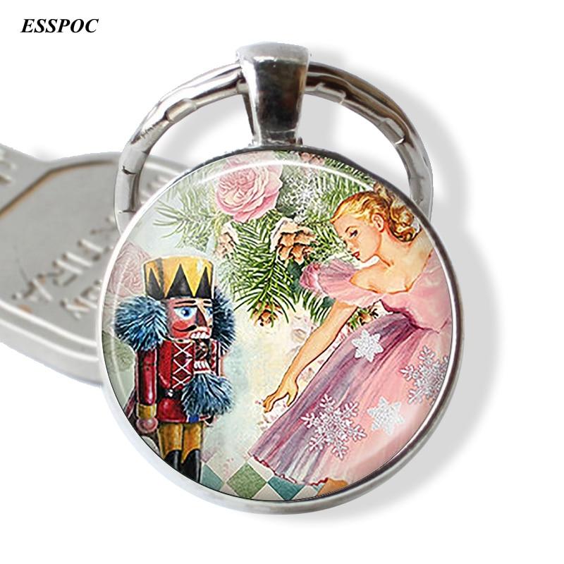The Nutcracker Ballet Cartoon Key Chain Fob Fairy Tale Pendant Keychain Key Fob Christmas Gift