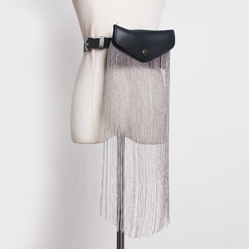 [EAM] 2020 New Spring Summer Pu Leather Black Tassels Split Joint Mini-bag Personality Long Belt Women Fashion All-match JR891
