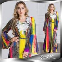 цена на Fashion Robe Middle East New Longuette Long Women Dress Plus Size 6l Lanon Bohemian S M L XL XXL XXXL 4XL 5XL 6XL 7XL