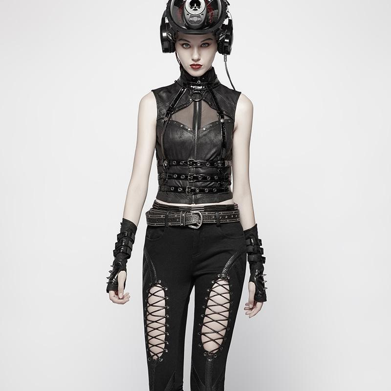Punk Rave femmes Goth boucle Rivet noir gants WS278SSF - 4