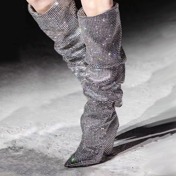2019 Pointed Toe Knee High Boots Woman Super High Heels  With Flock Leather Slip on Riding Shoes in Spike Heels Fashion Spring2019 Pointed Toe Knee High Boots Woman Super High Heels  With Flock Leather Slip on Riding Shoes in Spike Heels Fashion Spring