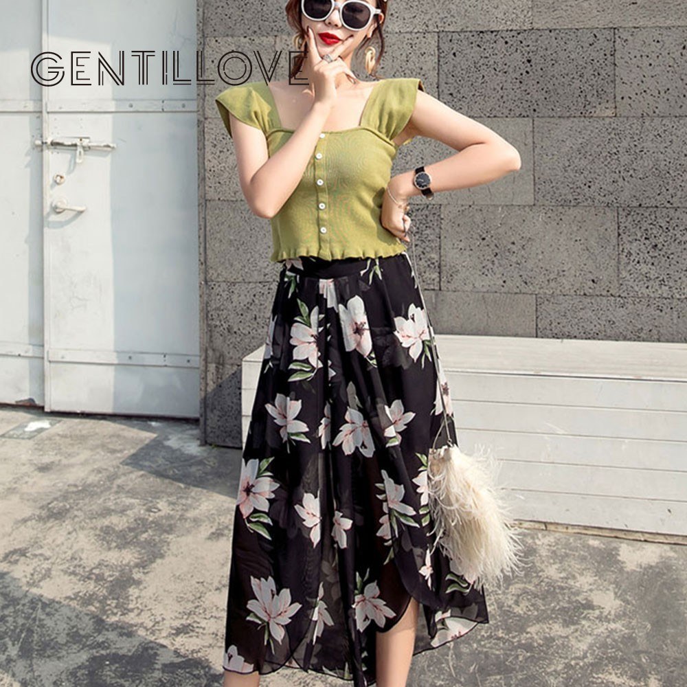 Gentillove Casual Wide Leg Chiffon   Pants   Floral Print Summer Boho Beach Trousers Sexy Elastic Waist Ankle-Length   Pants     Capris