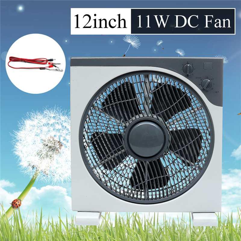 Ventilateur 12 pouces 11 W DC12V avec ligne de clip dc-crocodile réglage à trois vitesses ventilateur Portable silencieux pour les activités de plein air à domicile de bureau