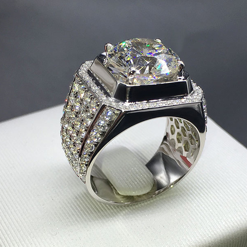 14K White Gold Zircon Luxury Hive Big Ring Trendy Man Diamond Gemstone Anillos Bague Rings Bizuteria White Diamond Anel Jewelry