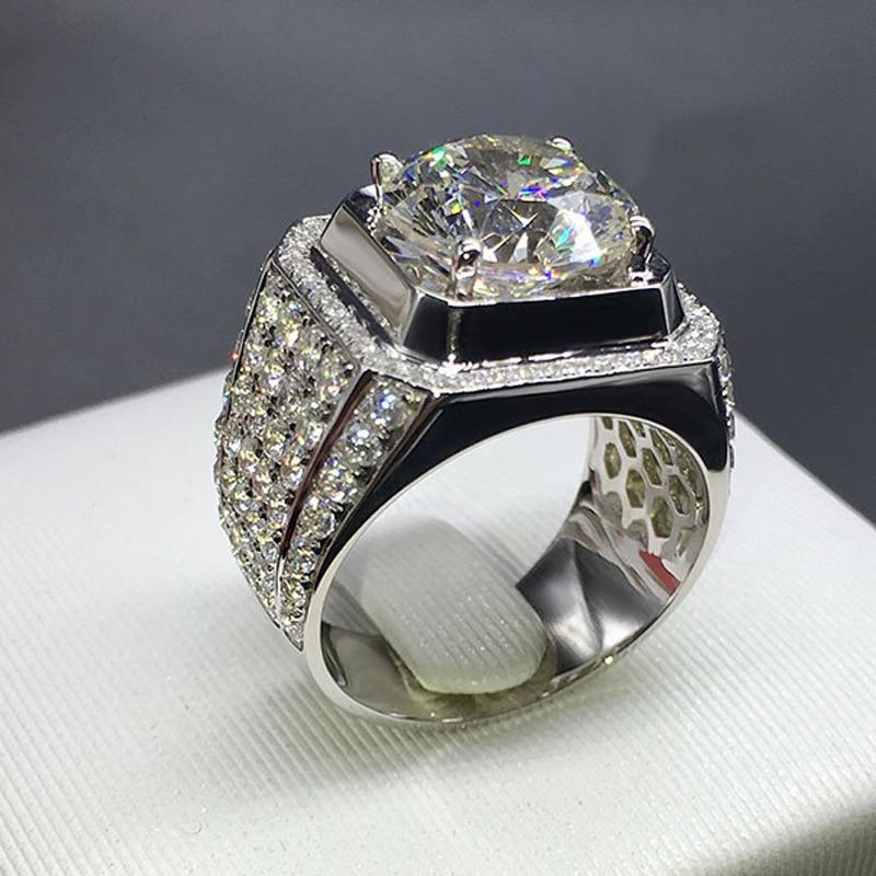 Zirkon Amethyst Luxus Hive Big Ring Trendy 14 K Weiß Gold Kristall Edition Mann Diamant Edelstein anillos de Bague Ringe bizuteria