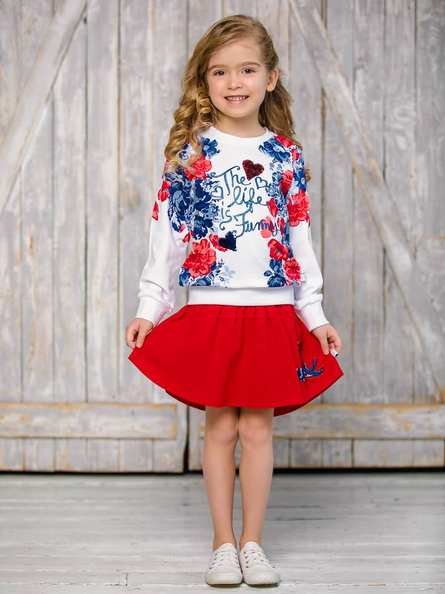 Sweatshirt knitted Sweet Berry for girls girls frill trim solid sweatshirt