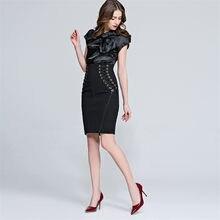 e39180cd8c 2019 verano Formal de las mujeres de la Oficina de la longitud de la  rodilla negro falda elegante falda de encaje Bodycon Vestid.
