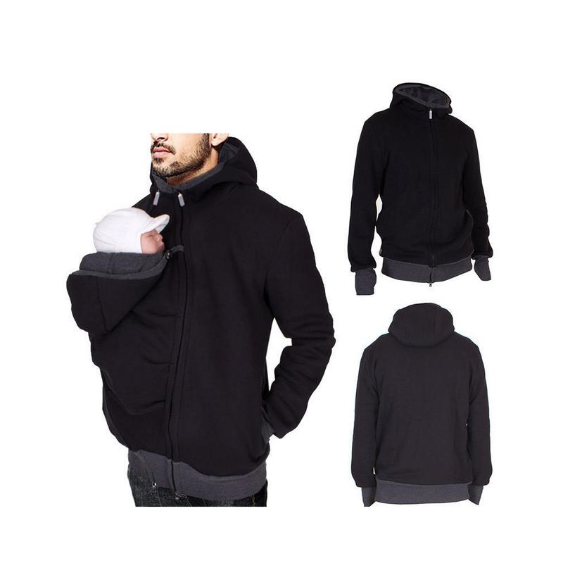 2 In 1 Men Hoodies Combo Multi-Function Kangaroo Dad Hooded Autumn Winter High Quality Soft Comfortable Baby Carrier Coat S3