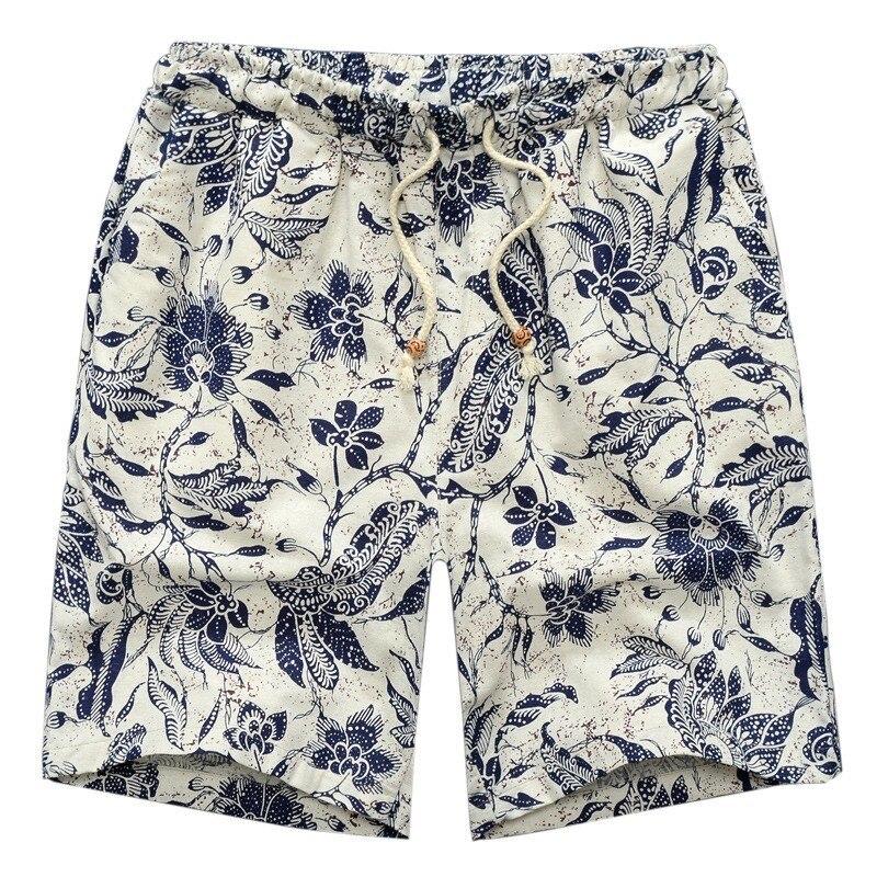 Summer 2019 Casual Shorts Men Drawstring Printed Male Mens Shorts Men Shorts Streetwear Cotton Linen Beach Fashion