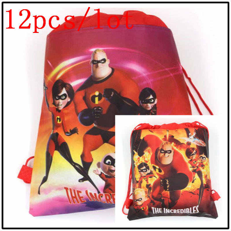 12pcs The Incredibles Girl Shopping Drawstring Bag Kid Boy Birthday Non-woven Gift Bag School Backpack Christmas Bift Bag Supply
