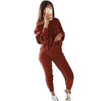 2018 Winter Yellow Womens Jumpsuit Knitted Top Long Pants 2Pc Set High Quality O Neck Soft Outfit Bodycon Casual Chic Playsuit