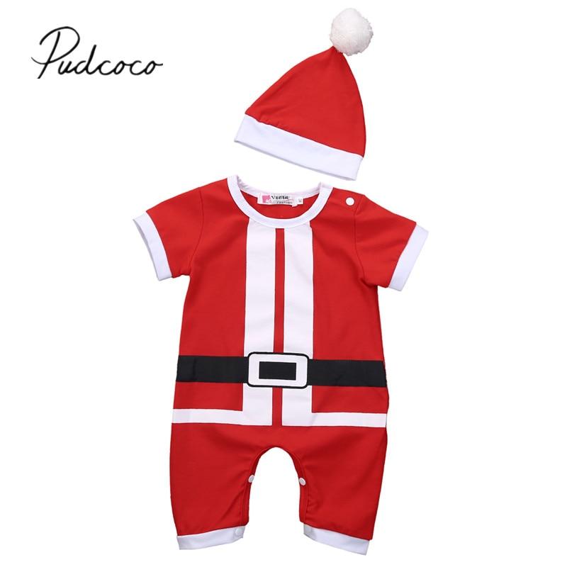 Christmas Newborn Girl Boy Romper Jumpsuit Playsuit+Hat 2PCS Outfit Clothes 2018