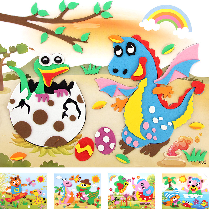 Happyxuan 20 Designs/lot 21*26cm Large Eva Foam Sticker Craft Cartoon Animal Educational Puzzles Kits Kindergarten Kids
