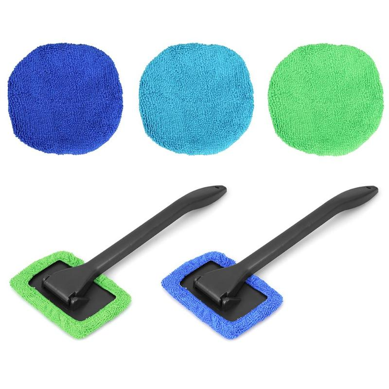 VODOOL Microfiber Long Handle Car Wash Brush Auto Window Clean Car Window Windshield Cloth Clean Tools Washable Shine Handy