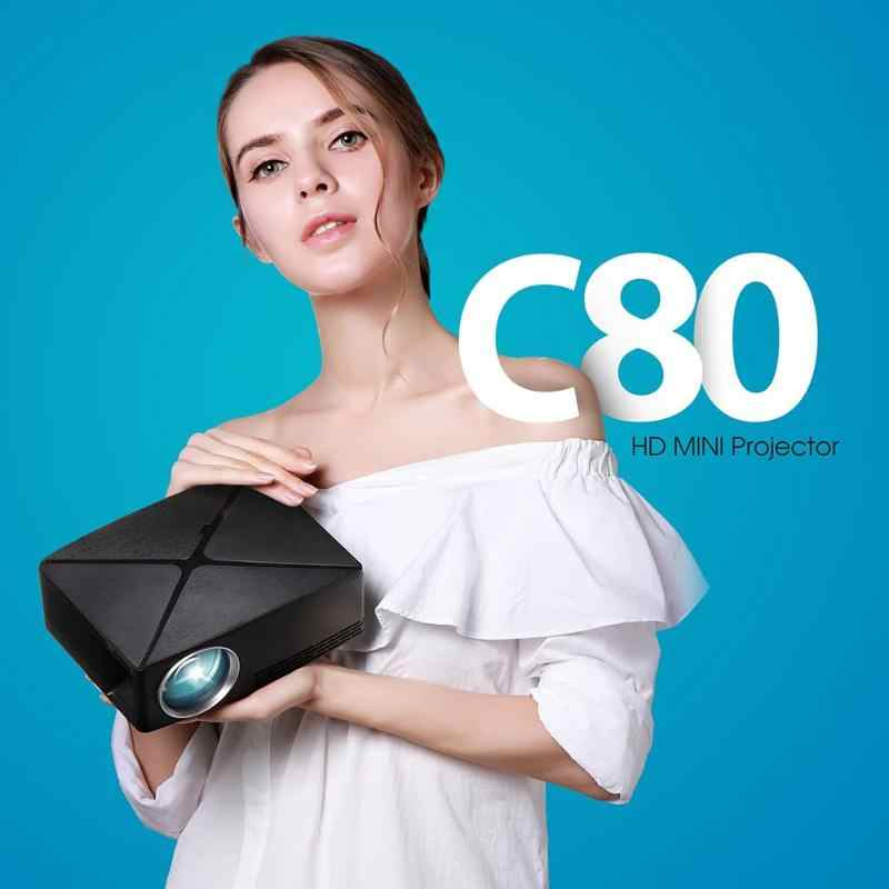 Мини C80 1280x720 Разрешение проектор портативный HD видео для домашнего кино EU/US Plug домашний кинотеатр проектор