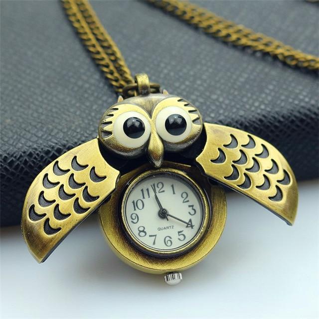 Nazeyt New Fashion Retro Unisex Vintage Double Open Owl Pendant Antique Necklace Pocket Watch Slide Smart Fob Child Gift Clock