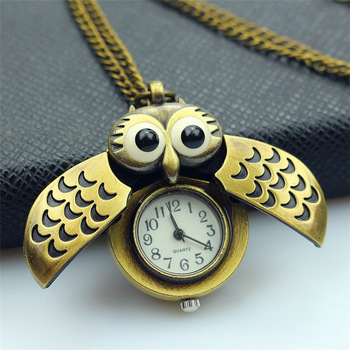 Nazeyt nueva moda Retro Unisex Vintage doble abierto búho colgante collar antiguo reloj de bolsillo deslizamiento smart Fob reloj de regalo para niños