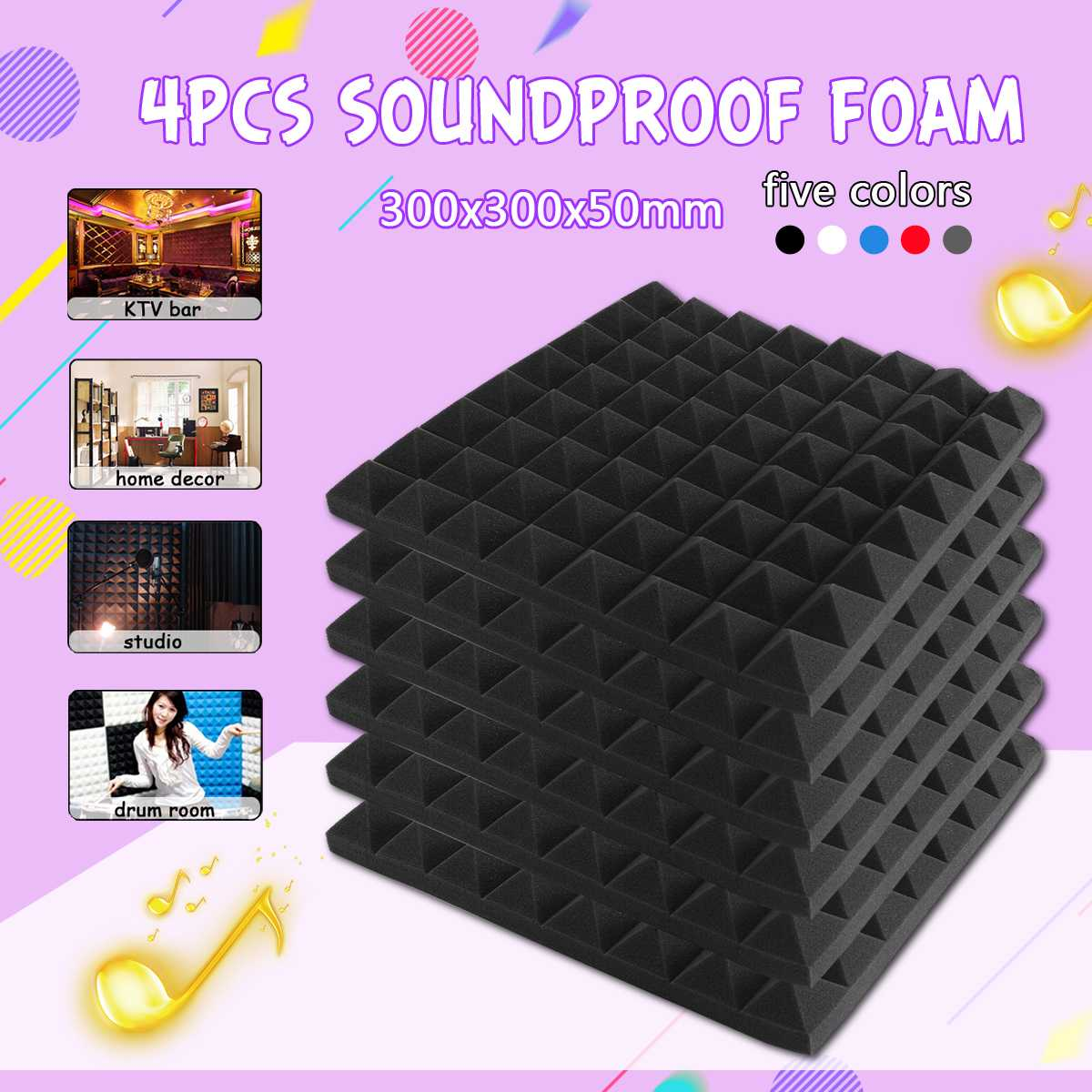 4 PCS 300X300X50mm Studio Acoustic Soundproof Foam Sound Absorption Treatment Panel Tile Protective Polyurethane Sponge4 PCS 300X300X50mm Studio Acoustic Soundproof Foam Sound Absorption Treatment Panel Tile Protective Polyurethane Sponge