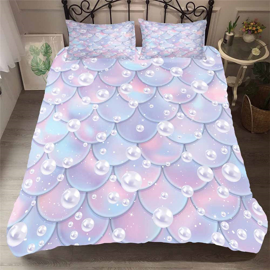 Bedding Set 3D Printed Duvet Cover Bed Set Sea Mermaid Home Textiles For Adults Lifelike Bedclothes With Pillowcase MRY10