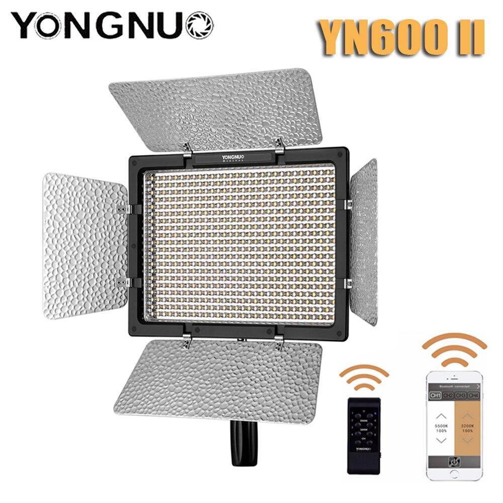 Tüketici Elektroniği'ten Fotoğraf Aydınlatma'de YONGNUO YN 600II YN600II Bicolor LED Video işığı 3200k 5500k ayarlanabilir 600 LED 2.4G kablosuz uzaktan kontrol title=