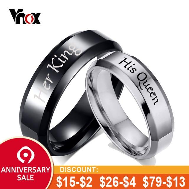 Vnox His Queen Her King Wedding Rings For Women Men Stainless Steel
