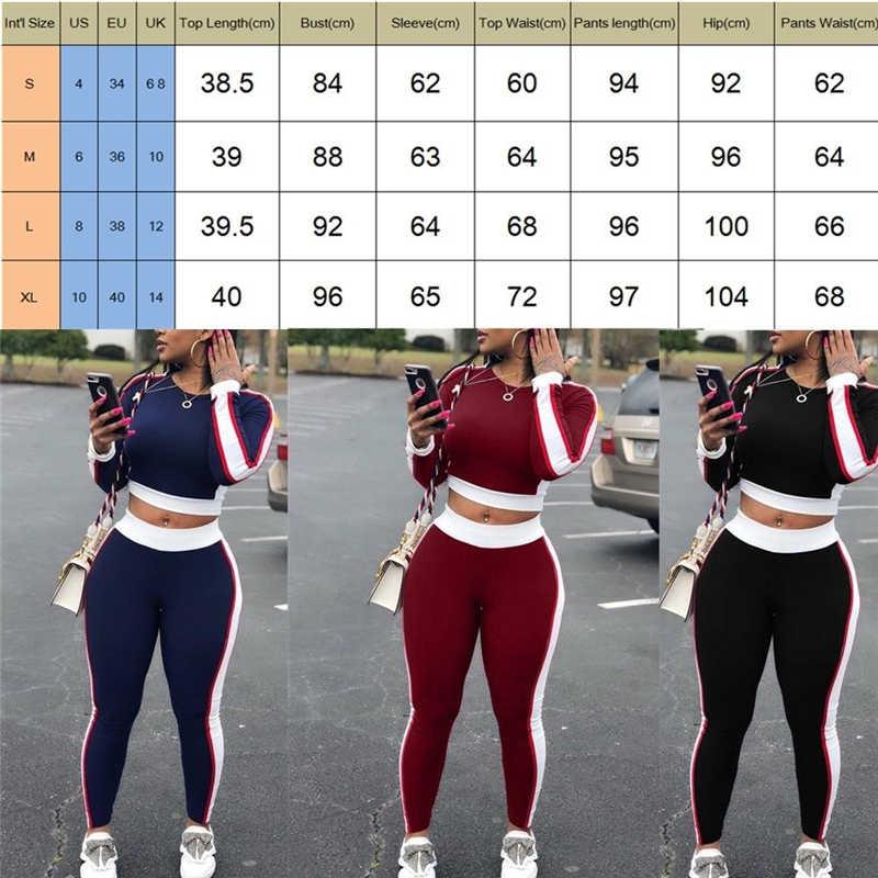 เซ็กซี่ผู้หญิงชุดกีฬาโยคะแขนยาว Crop Top กางเกงชุดโยคะออกกำลังกายฟิตเนสออกกำลังกายเสื้อผ้า Tracksuit