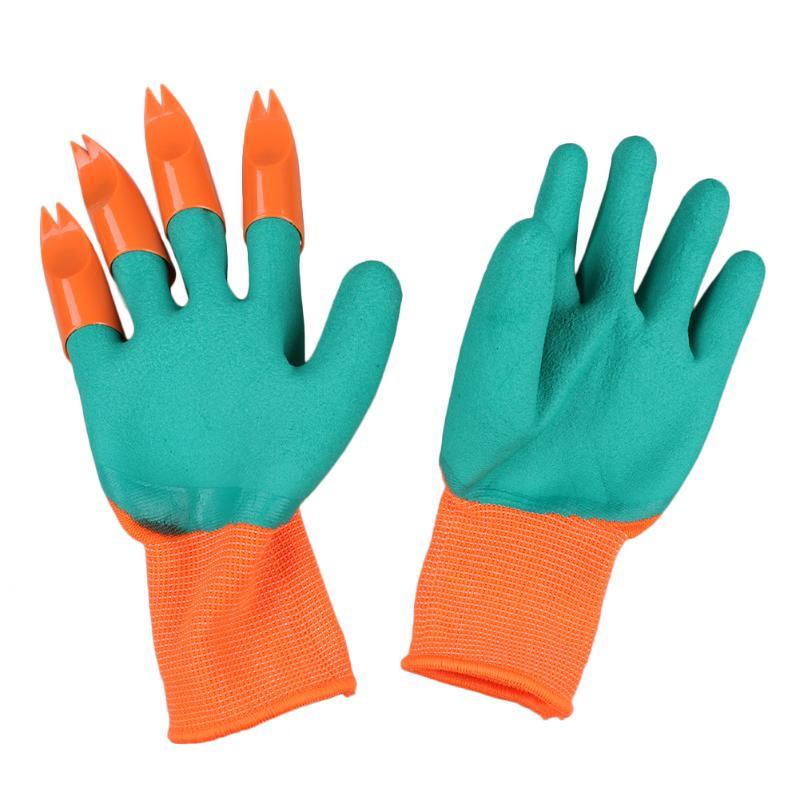 1 Paar Garten Handschuhe Schnell Einfach Zu Dig Gummi Handschuhe Für Garten Graben Pflanzung Mit 4 Abs Kunststoff Krallen