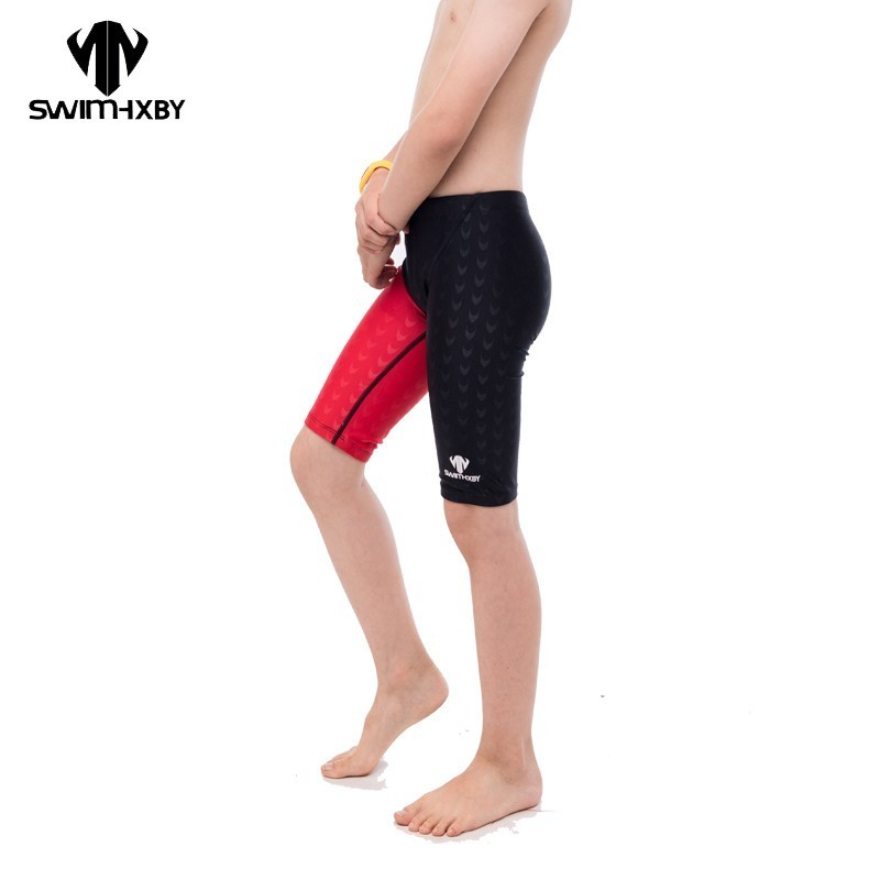 Boys Swimsuit Shorts HXBY Racing Training Professional Children Kids Mens