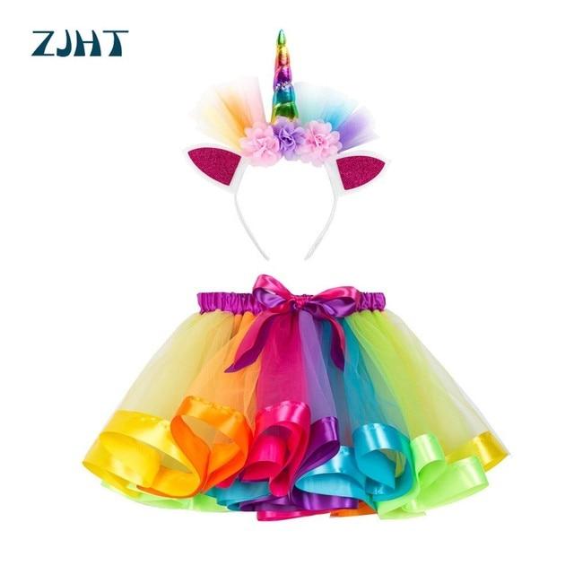 ZJHT Mới Cô Gái Cầu Vồng Tutu Váy Với Unicorn Mũ Nón Trẻ Em Quần Áo Khiêu Vũ Ngọt Ngào Bé Kids Toddler Dễ Thương Ngắn Trang Phục MY009