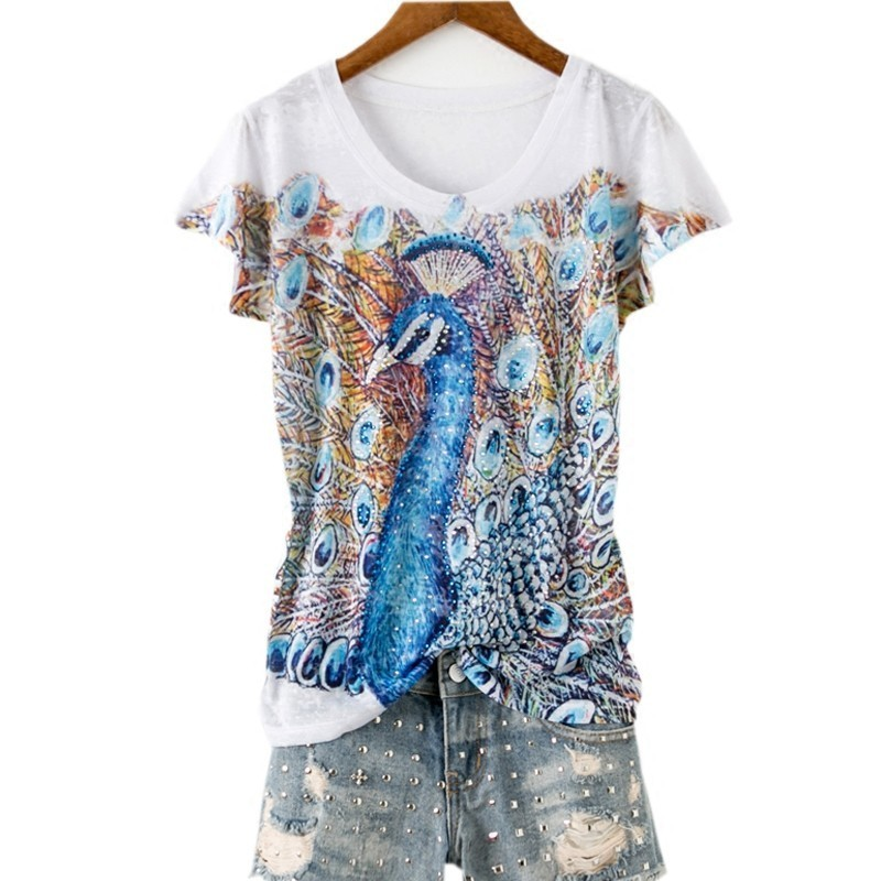 Double peacock print slim t shirt women short sleeve fashion hot drilling tops 2019 new arrivals