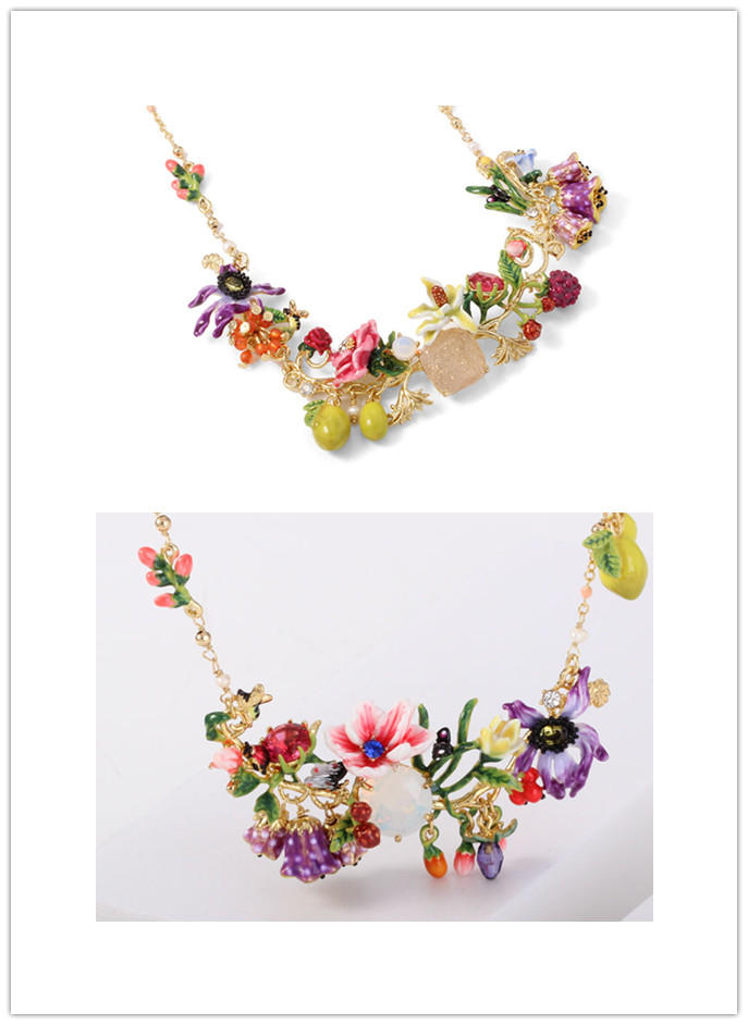 Free shipping complex enamel glaze flower necklace