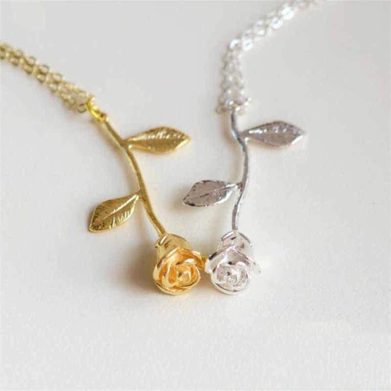 Vintage Gold Rose Flower Pendant Necklace For Women Jewelry Chokers Necklaces Sweater Chain Women Statement Necklace Collier Fem