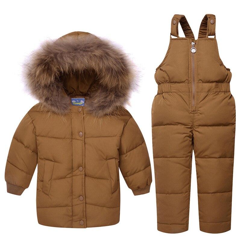 2019 hiver bébé garçons blanc canard vers le bas Snowsuit bébé vêtements veste costume enfants Caramel deux pièces ensemble grand col de fourrure