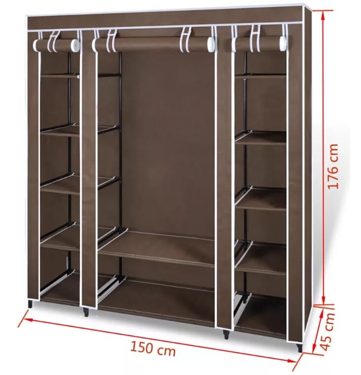 VidaXL placard pliable en tissu Non tissé armoire Portable moderne armoire Simple ménage tissu pliant rangement placard - 2