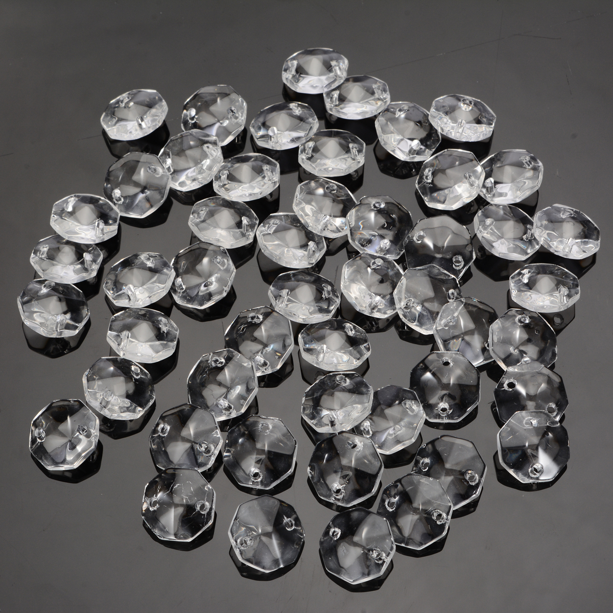 50pcs 14mm 4 Holes Glass Square Crystal Beads Prisms Chandelier Lamp Chain Parts