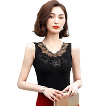 Summer Lace Tank Top Women Sleeveless Slim Casual Vest Tops O-Neck Shirt Black Female Camisole Hollow Feminina Plus Size S-4XL