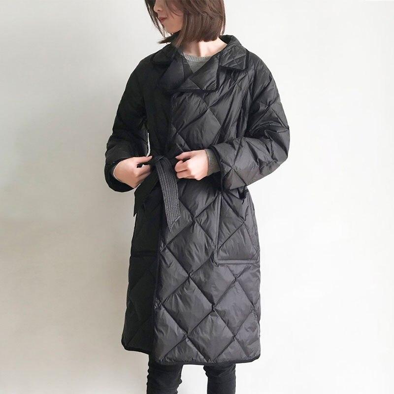 Пуховик женский, легкий и тонкий, длинный, с воротником, на осень и зиму, HJ139