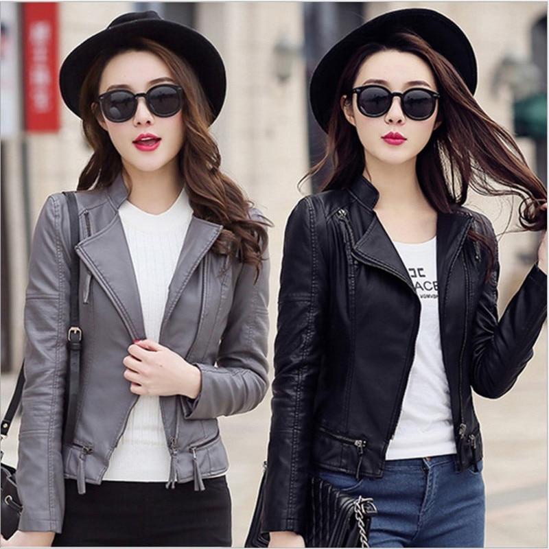 New Women Spring Autumn Pu Leather Jacket Casual Slim Soft Moto Jacket Biker Faux Leather Jacket Female Coat Basic Streetwear