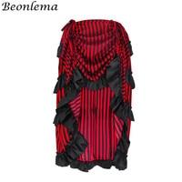 Beonlema Steampunk Skirt Stripe Ruffles Women Long Skirts Punk Goth Sexy Streetwear Plus Size Elastic Waist Line Skirt S 2XL