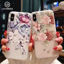 Lovebay Ponsel Case untuk iPhone 6 6S 7 7 Plus X XR X Max 5 5 S SE Fashion 3D Relief Bunga Flamingo Daun Lembut TPU untuk iPhone X(China)