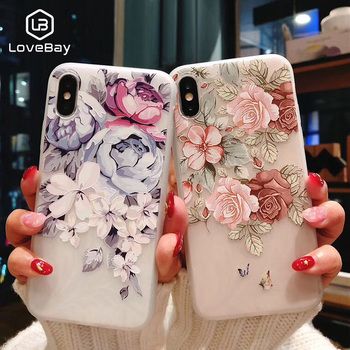 Lovebay Phone Case For iPhone 6 6S 7 8 Plus X XR XS Max 5 5s SE Fashion 3D Relief Flower Flamingo Leaf Soft TPU For iPhone XS
