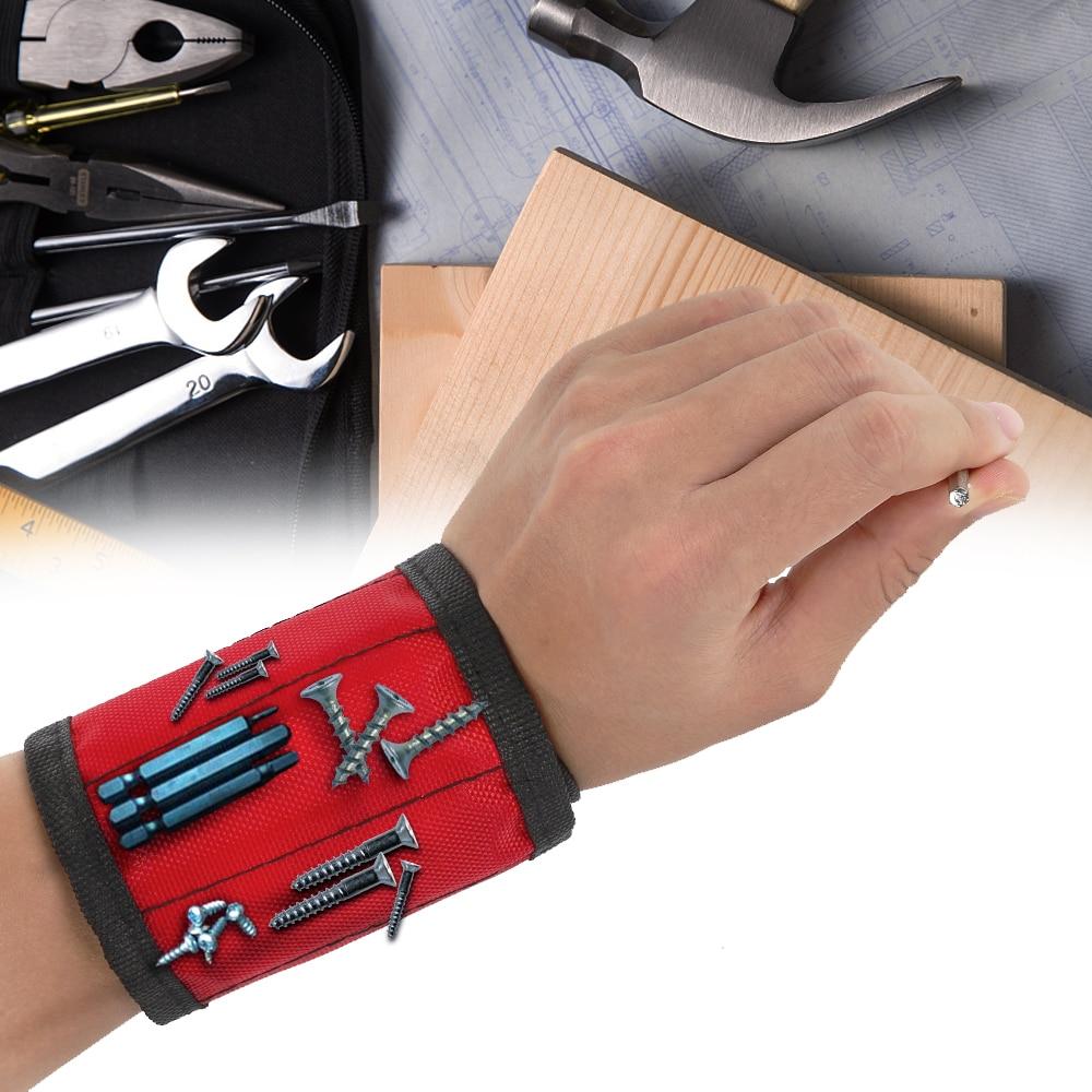 1 Pcs Magnetic Gelang Tangan Membungkus Tas Alat Adjustable Listrik Pergelangan Tangan Sekrup Kuku Bor Pemegang Sabuk Gelang untuk Perbaikan Rumah title=