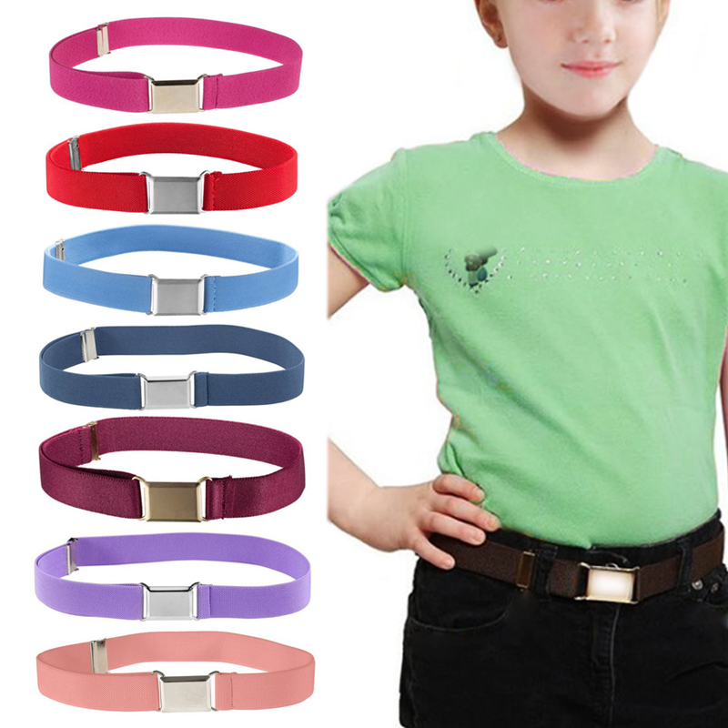 1PC Alloy Buckle Boys About 60-80cm Canvas GirlsFor Boys Kids Adjustable Solid Elastic Party Children's   Belts   Christmas Gifts