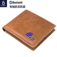 New Fashion Mens Bluetooth Genuine Real Leather Wallet Connected By Phone Business And Casual Style Interior Compartment Purse